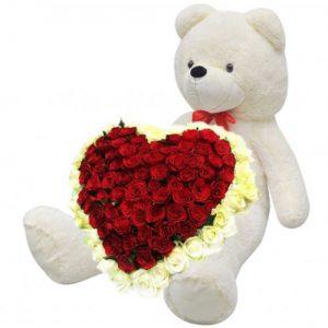 товар 101 роза и большой мишка